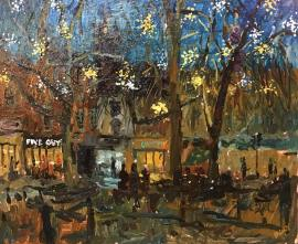 Artist Emily Faludy, Paint Out Norwich Winter Nocturne, 'Starry night', Oil, 10x12in, £350
