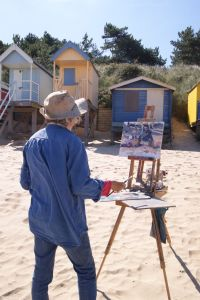 Artist Jane Hodgson, Paint Out Wells Beach, Norfolk, 2015. Photo by Katy Jon Went