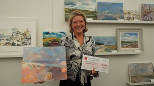 Artist Sarah Muir Poland wins a judge's commendation at Paint Out Wells. Photo by Katy Jon Went