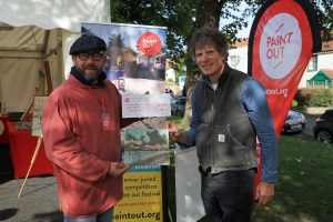 James Colman presents Second prize at Paint Out Wells 2017 to Artist Sam Robbins. Photo by Katy Jon Went