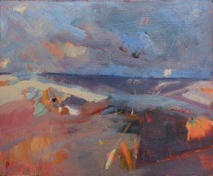 Artist Sarah Muir Poland, 'Daybreaks, Wells', Wells Beach, Norfolk, Oil, 27x35cm, £280. Paint Out Wells 2017 Commended