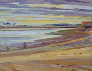 Artist Susanna MacInnes, 'Dark Skies', Wells-next-the-Sea, Oil, 10x8in, £325. Paint Out Wells 2018