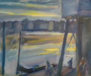 Artist Shaun Carey, 'Early Autumn – Wells Harbour', Wells-next-the-Sea, Oil, 40x32cm, £250. Paint Out Wells 2018