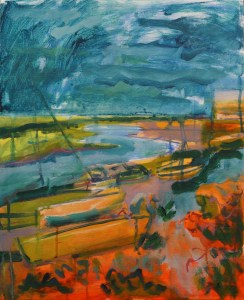 Artist Jack Godfrey, 'Red Notes', Wells-next-the-Sea, Mixed Media, 40x50cm, £320. Paint Out Wells 2018