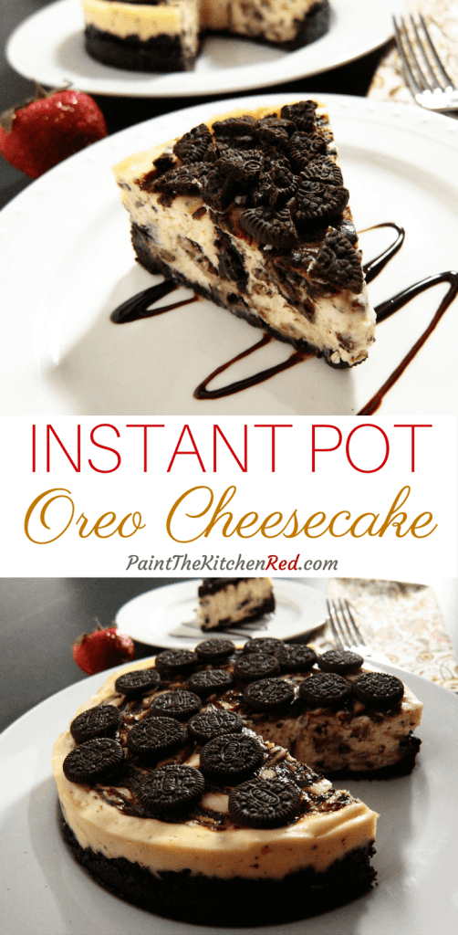This Chocolate Swirl Instant Pot Oreo Cheesecake has a triple dose of chocolate: a generous Oreo crust, Oreo cookies in the batter and melted chocolate swirled in. It's super easy to prepare, and hard to mess up in the Instant Pot! from Paint the Kitchen Red