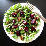 Instant Pot Beet Salad with Arugula, Goat Cheese, Walnuts