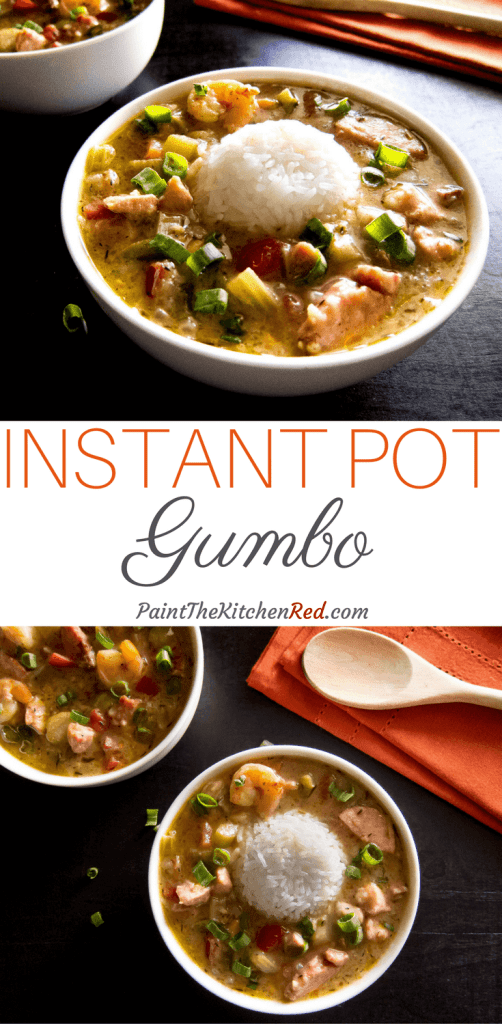 This Delicious Instant Pot Louisiana Gumbo is a quintessential New Orleans dish that is hearty, satisfying, flavorful and perfect for a crowd. Made with chicken, sausage and shrimp, it tastes amazing when served over rice. From Paint the Kitchen Red #instantpot #gumbo