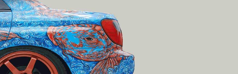 Side View of a custom airbrushed Subaru by Cindy Raschke.