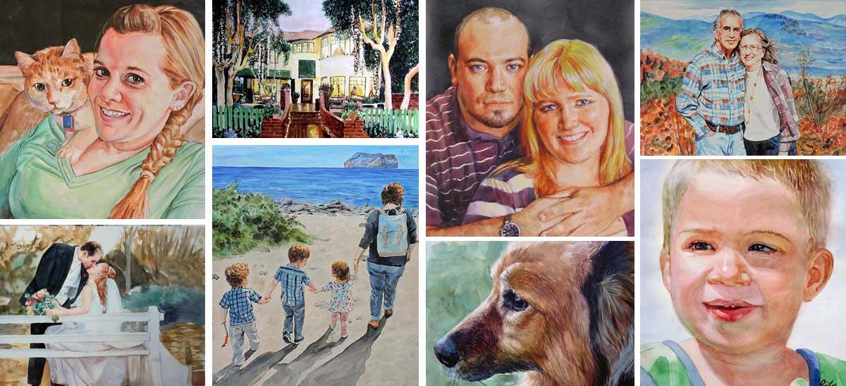 Watercolor Portraits Watercolor Paintings Custom