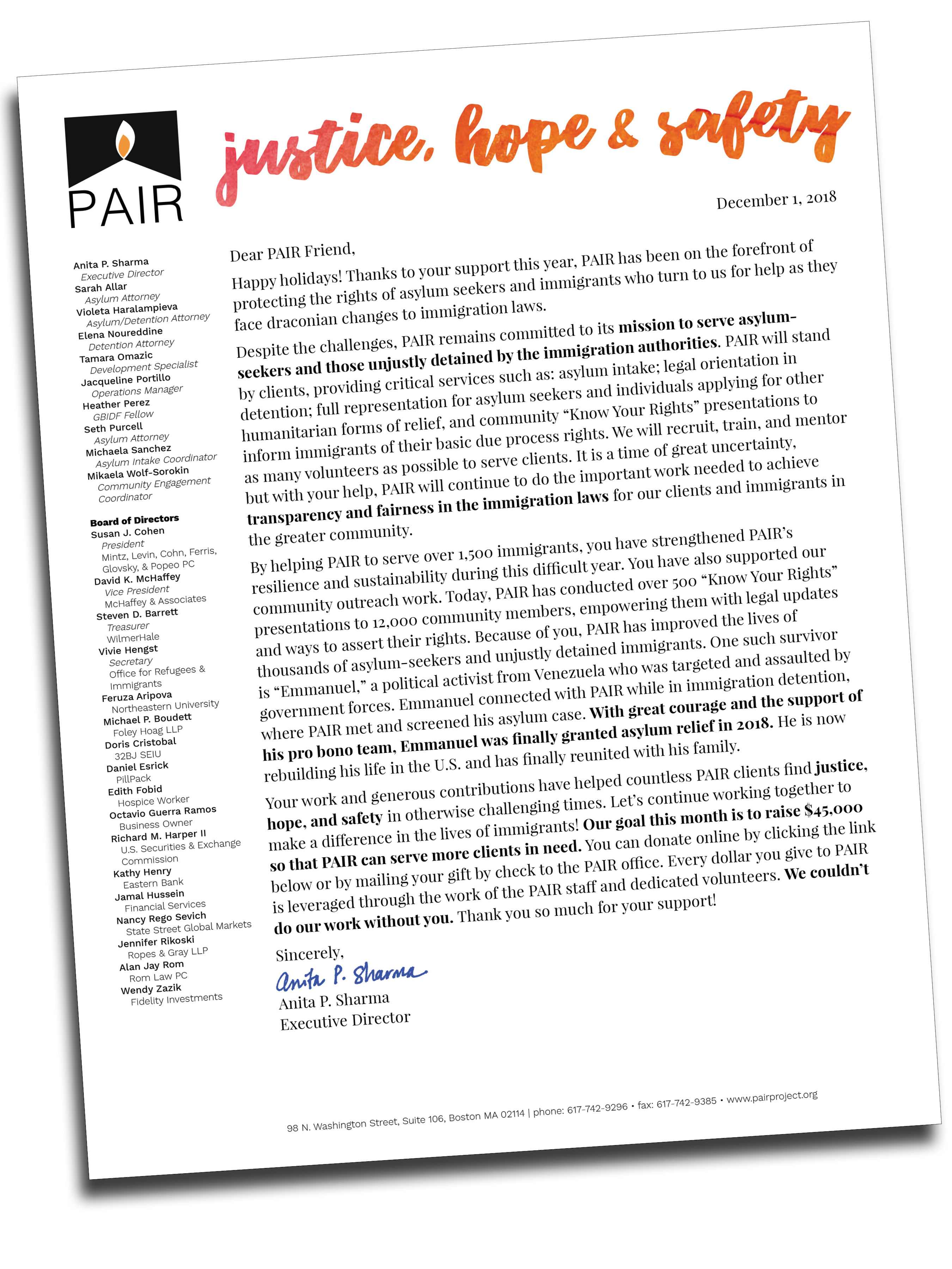 Annual appeal letter