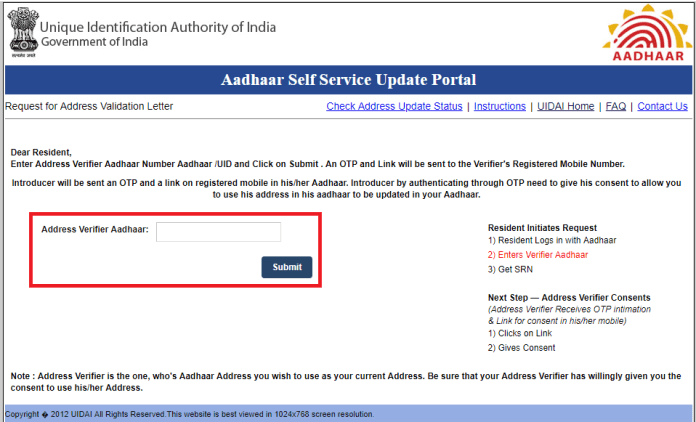 Update aadhar card using Validation Letter c