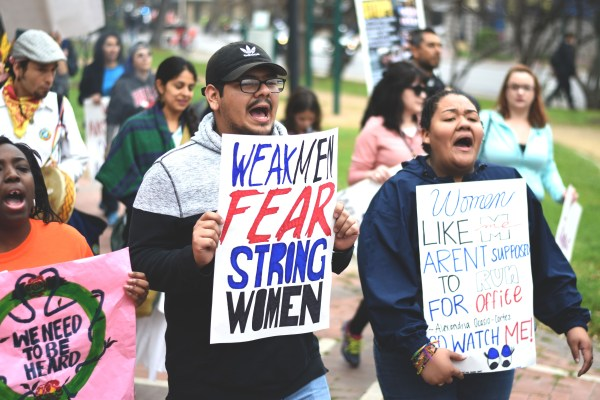 Students from UTSA participating in the march.