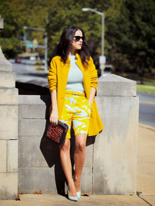 You could also brighten your day up by wearing a bright printed Bermuda shorts and have a top or coat matched with that color