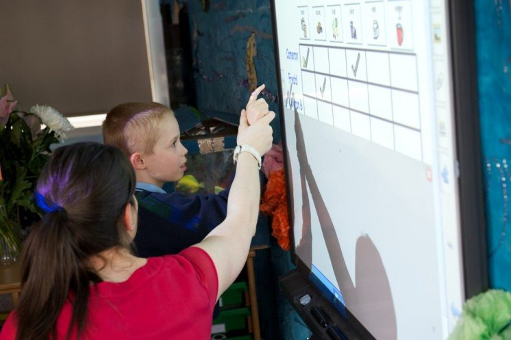 kersland pupils using smartboard
