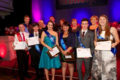 All the job winners with guests who presented awards
