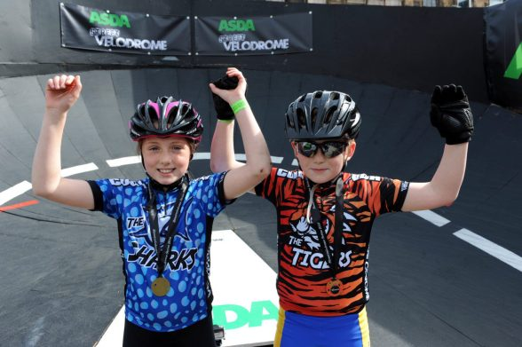 Velodrome 147 Under 10 winner Isla McCutcheon from Bridge of Weir and runner up Arron Clancy from Paisley