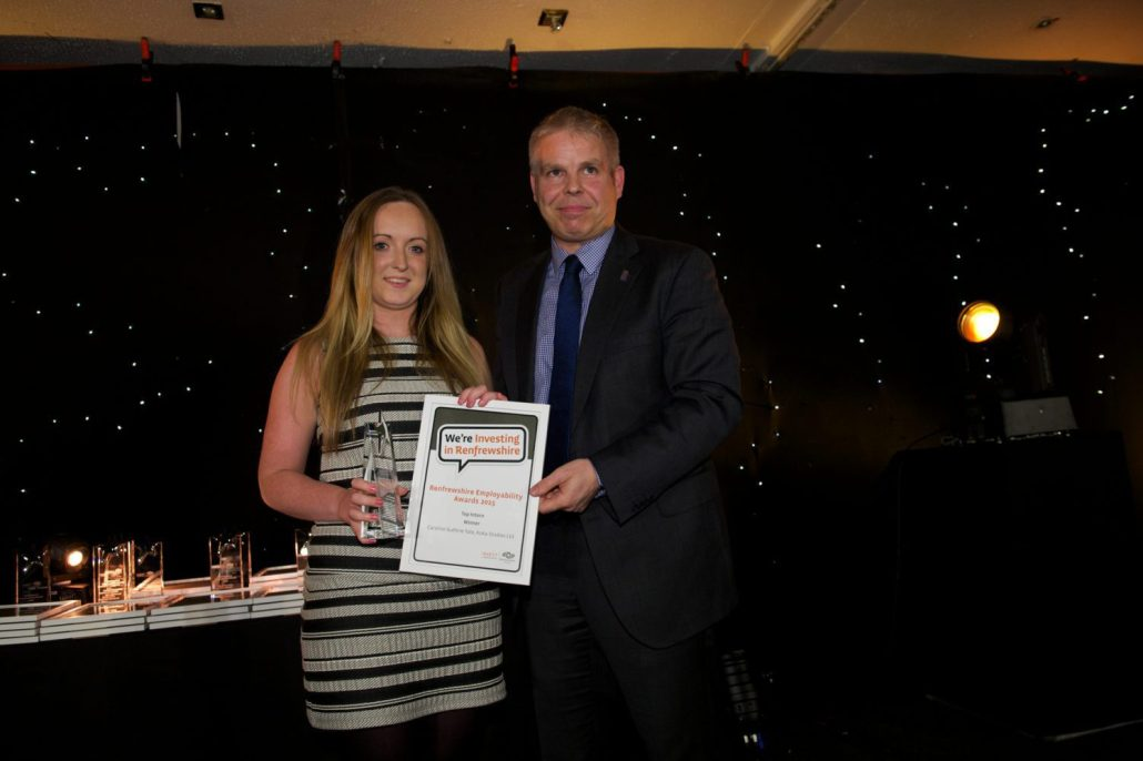 Top Intern, Caroline Guthrie Tate of Kuka Studios with Bob Grant, Renfrewshire Chamber of Commerce