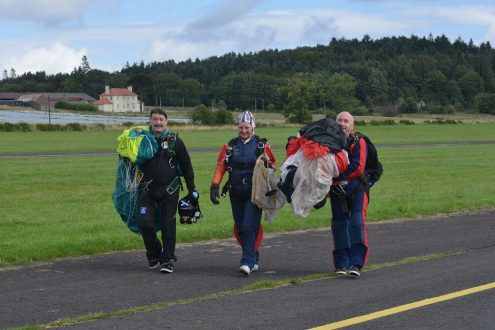 Renfrewshire provost anne hall on her tandem parachute jump with Chris Dickie of St Andrews Skydive See copy Jennifer Connolly..28 Aug 15Renfrewshire provost anne hall on her tandem parachute jump with Chris Dickie of St Andrews Skydive See copy Jennifer Connolly..28 Aug 15