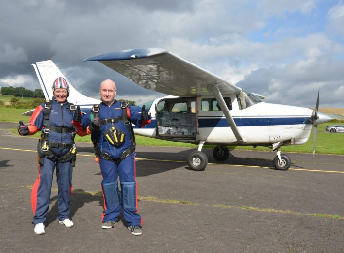 Renfrewshire provost anne hall on her tandem parachute jump with Chris Dickie of St Andrews Skydive See copy Jennifer Connolly..28 Aug 15