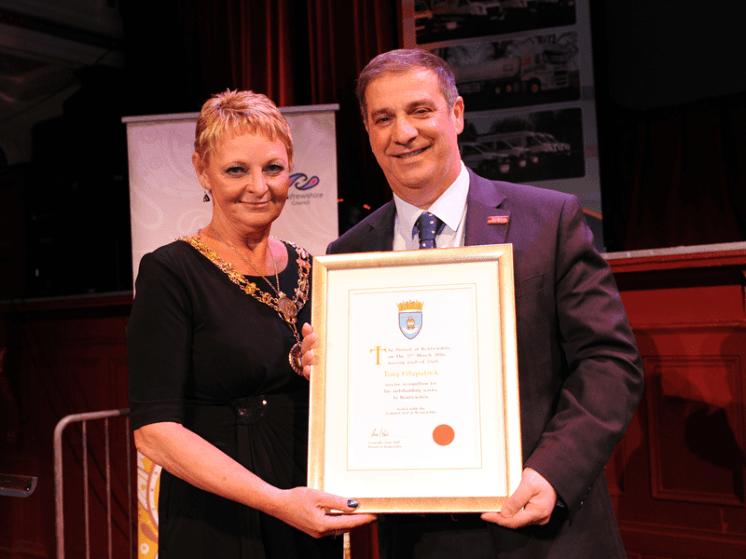 1-Renfrewshire Provost Anne Hall with Distinction Certificate recipient Tony Fitzpatrick