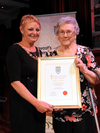 1-Renfrewshire Provost Anne Hall with Distinction Certificate winner Margaret Smith