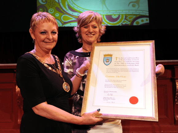 1-Renfrewshire Provost Anne Hall with Freedom of Renfrewshire recipient Corinne Hutton