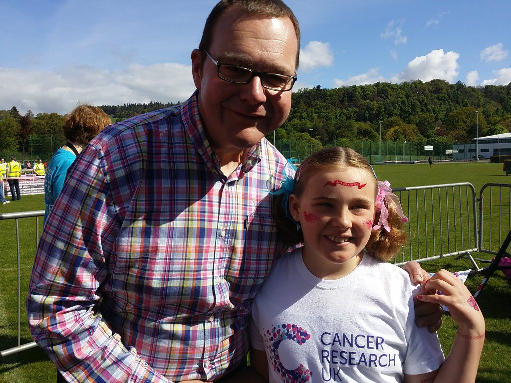 Nine-year-old Lucy Robertson (VIP at Race for Life Stirling) with Dad Gordon Robertson