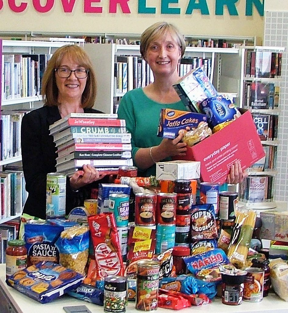 Joyce Higgins, Renfrewshire Leisure's digital and library development manager, left and Elizabeth Alexander Renfrewshire Foodbank project manager