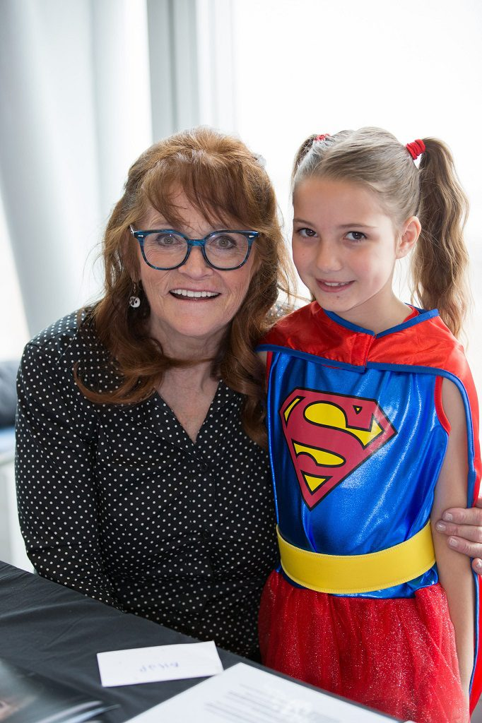 Film and Comic Con at Braehead Braehead Arena. On over Sat and Sunday 20th and 21st Aug. Pictured  Eli Holt (8) from Johnstone dressed as Super Girl meeting Superman's girl friend Lois Lane , actress Margot Kidder. Photograph by Martin Shields  Tel 07572 457000 www.martinshields.com © Martin Shields