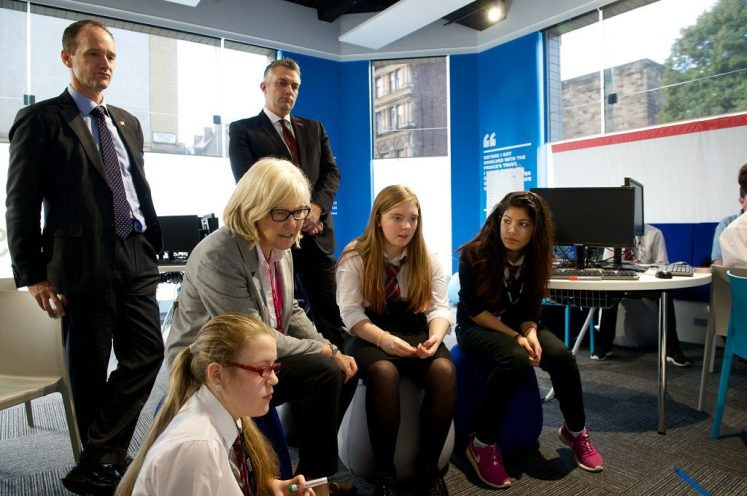 Councillor Macmillan looks on as Mary Russell pupils complete an activity