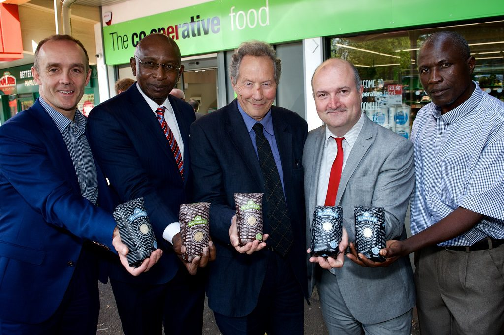 L-R John McNeill- Co-op Managing Director, Kena Mphonda- Malawi High Commissioner to the UK, John Riches- Chairman of Just Trading Scotland, Councillor Jim Sharkey- Chair of the Renfrewshire Fairtrade Steering Group and Howard Msukwa- Malawian rice farmer
