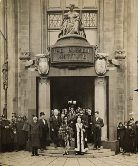 Official photograph of the opening of the Russell Institute by Princess Mary with Provost Crawford.