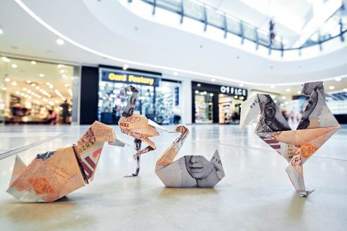 Thousands of pounds in origami money birds released across shopping centres nationwide