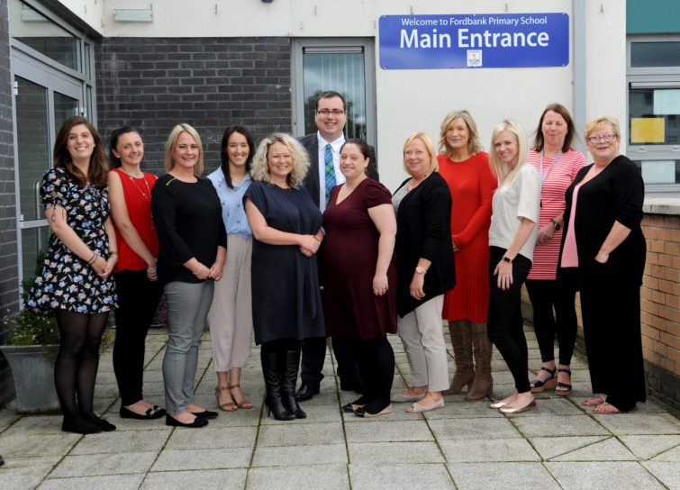 Fordbank Primary School teachers and support staff with Education Convener Cllr Jim Paterson (1)