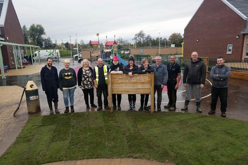 Riverbrae School New Turf PIC SHOWS the turf is down the final team on the ground