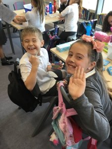 Bargarran Primary pupils Leighton Campbell & Sophie Sinclair