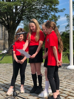 Pupils from Glencoats Primary reading a poem by Trudy Howson, LGBT Poet Laureate