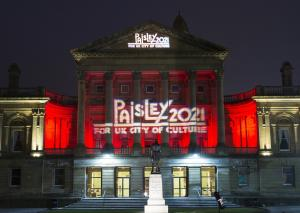 Paisley Town Hall lit up in support of the bid