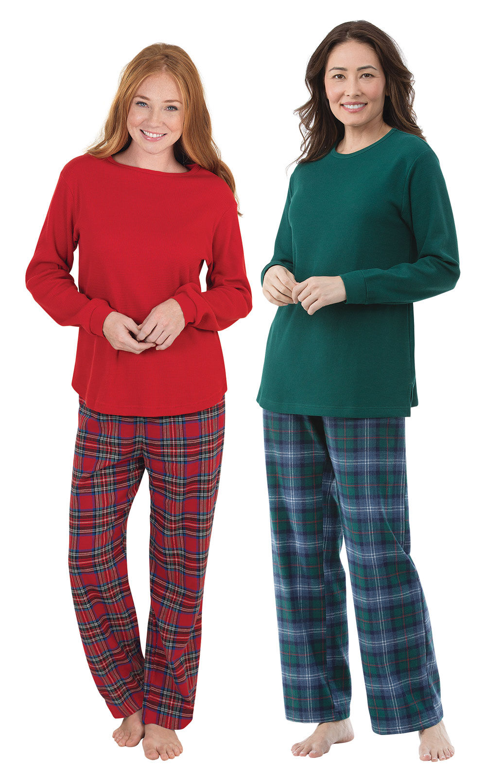 Holiday Plaid Thermal-Top Pajama Gift Set - Tall in Women ...