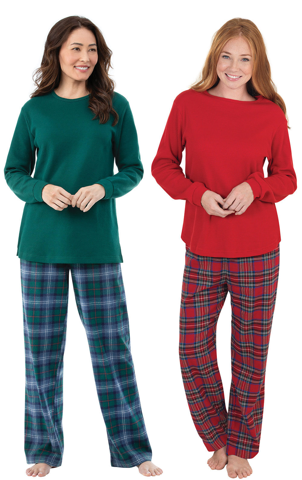 Holiday Plaid Thermal-Top Pajama Gift Set in Women's Great ...