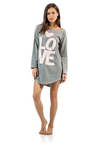 "897e165498285 Casual Nights Women's ""Love"" Dorm Sleep Shirt – Grey"
