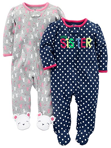 e514a0814 Simple Joys by Carter's Baby Girls' 2-Pack Fleece Footed Sleep-and-Play