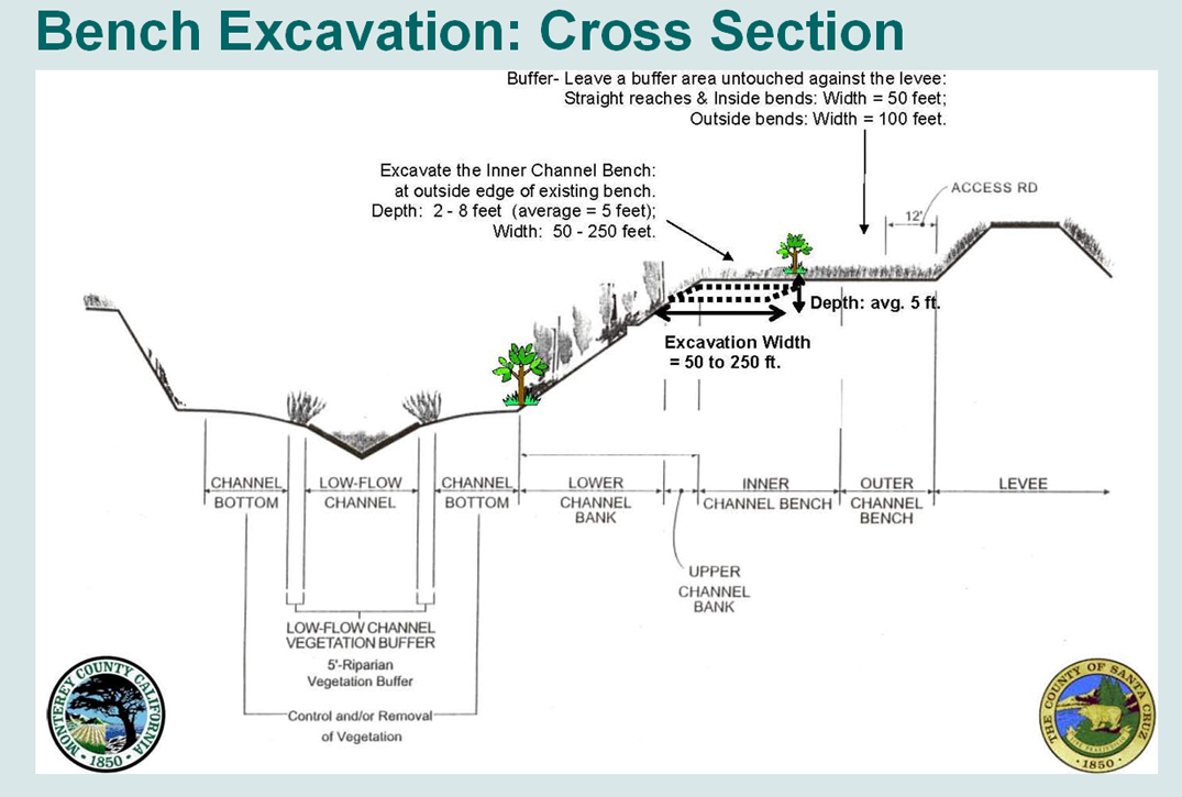 levee cross section diagram of how vaccines work the pajaro river watershed content bench excavation project description