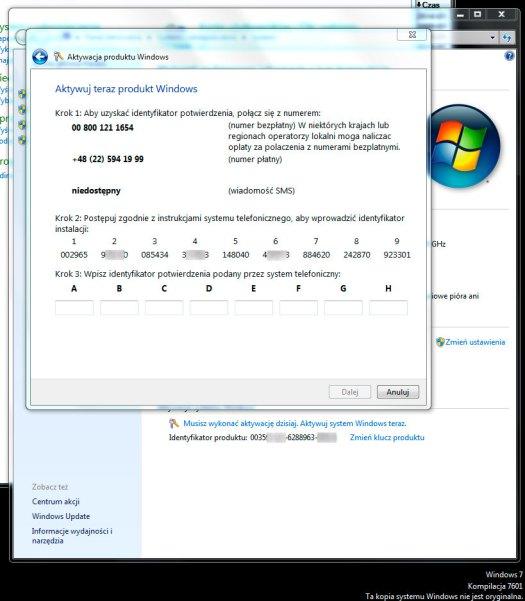 Telefoniczna aktywacja kopii systemu Windows 7