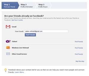 Mencari teman untuk pertama kali di Facebook