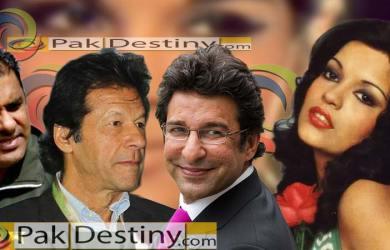 wasim akram,waqar younis,imran khan and zeenat aman
