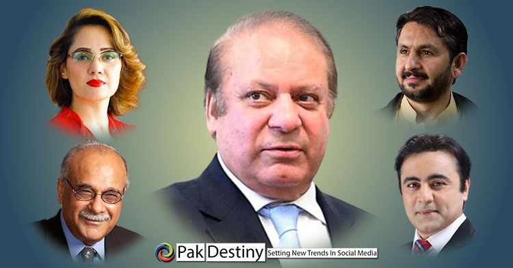 16 top media persons of Pakistan openly pledge their 'love and support' for Nawaz Sharif -- PTI quick to name them 'Lafafa journalists'