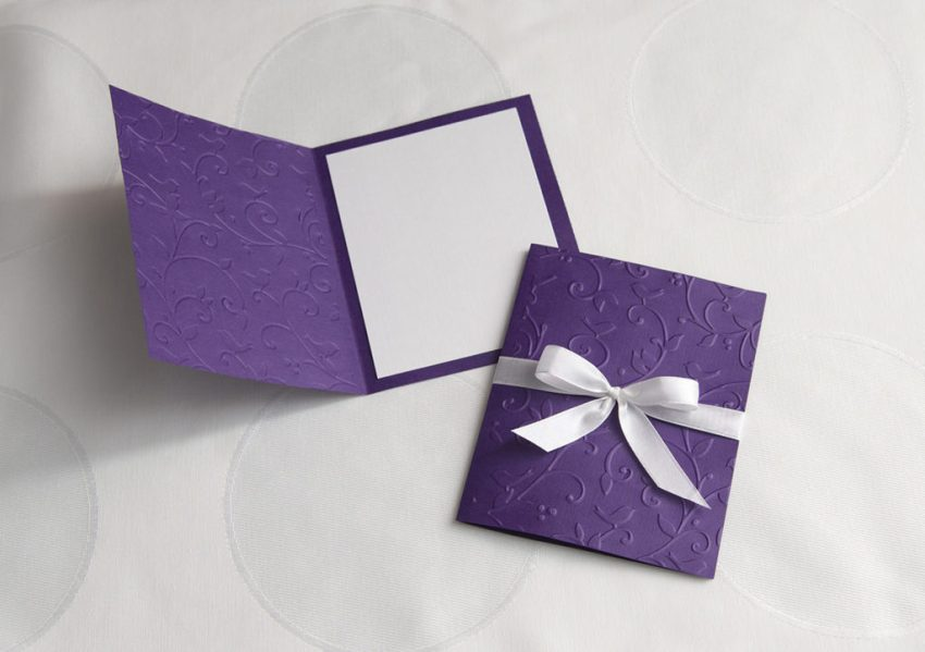 A custom greeting card with embossing.