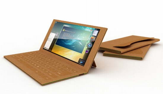A laptop with a cardboard case.
