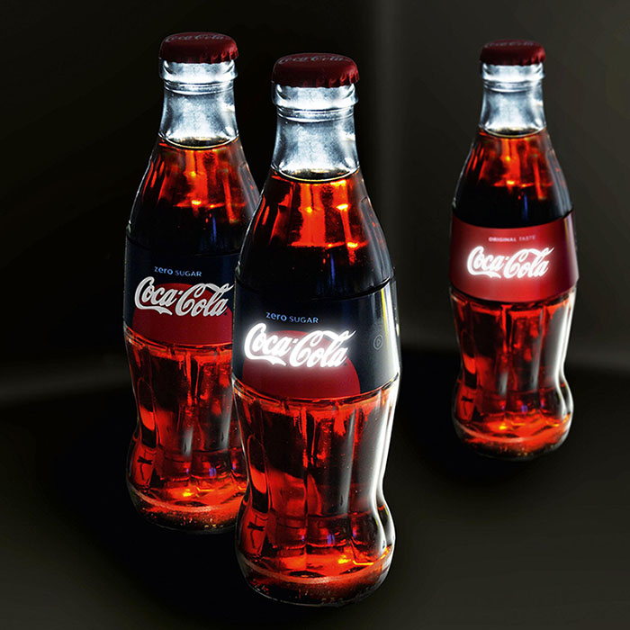 Coca Cola label with printed OLEDs
